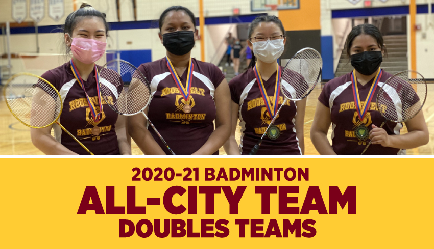 Minneapolis Roosevelt High School in South Minneapolis.  doubles team Khanh Tran, Sabrina Chhoy & doubles team Alex LaChapelle, Ruth Martinez for being named to the All-City Bandminton Team. This photo shows the 4 players posing in the Washbunr gym with t