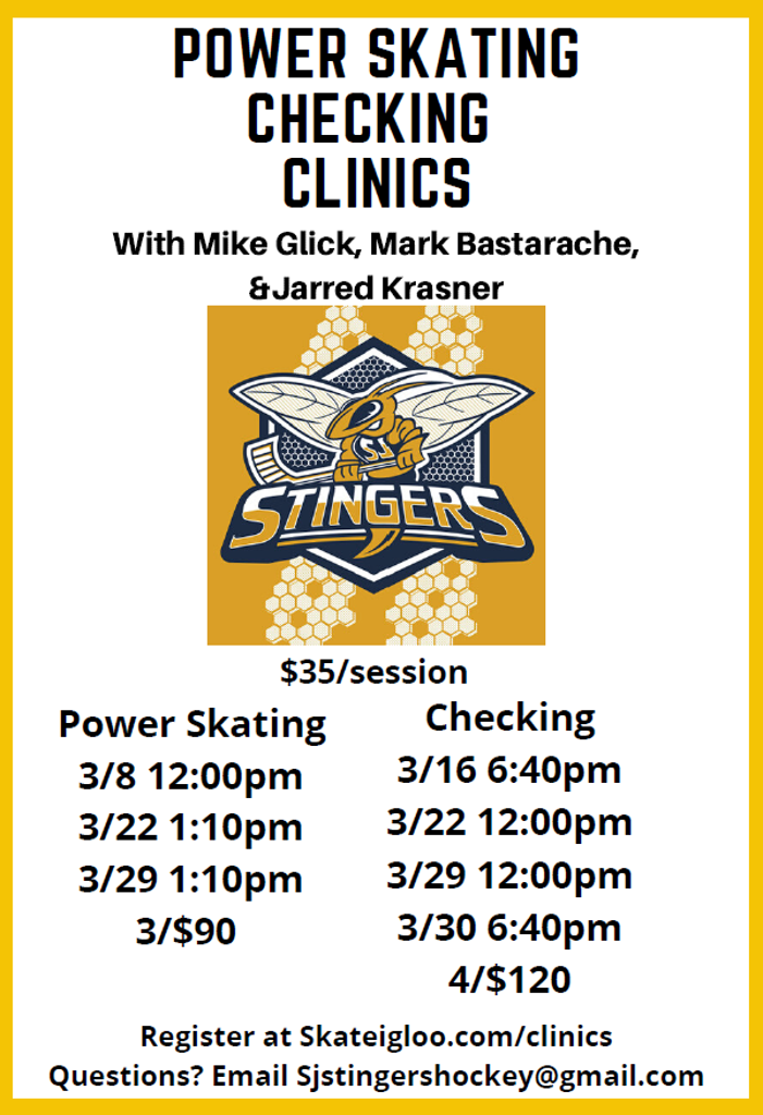 Stingers Power Skating & Checking Clinic Schedule