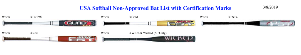 2019 Non-Approved ASA Bat List