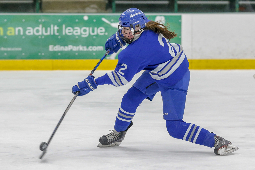 Brainerd/Little Falls senior Ella Kalusche breaks in alone against North Wright County Wednesday afternoon. Kalusche had goal for the Warriors in their 3-2 victory over the River Hawks. Photo by Jeff Lawler, SportsEngine