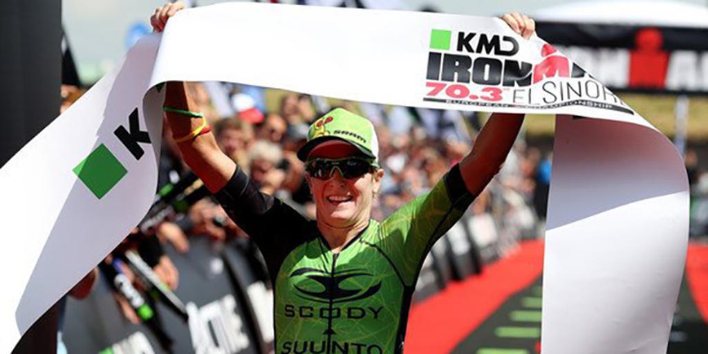 Aussie professional triathlete Melissa Hauschildt finishing a race