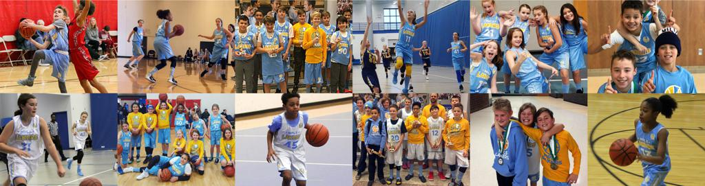 Mpls Lakers Youth Traveling Basketball Program Inc collage of Boys & Girls players of during the season. Posing, playing and hanging out; developing the bonds of friendship, foundation basketball skills, and lifeskills of being a positive and supportive t
