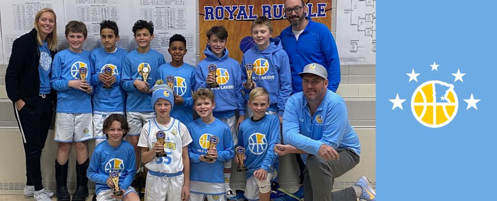 Minneapolis Lakers Youth Basketball Program Boys 5th Grade Gold pose with their Trophies after placing 2nd at the Hopkins Royal Rumble tournament in Hopkins, MN