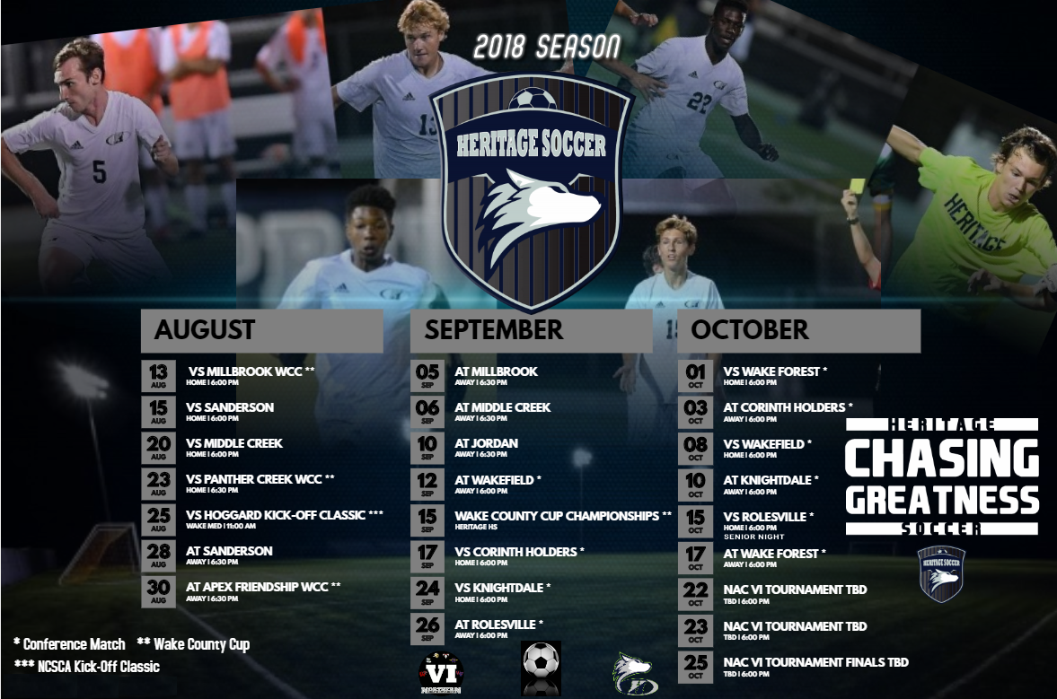 heritage mens soccer schedule graphic