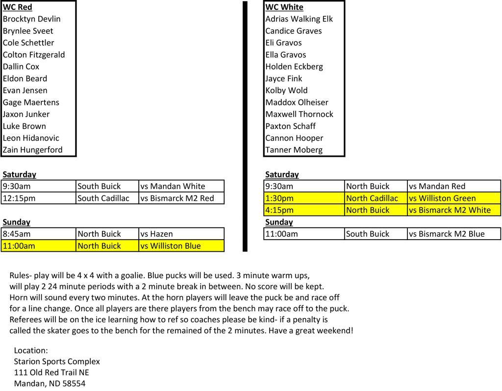 Mandan schedule