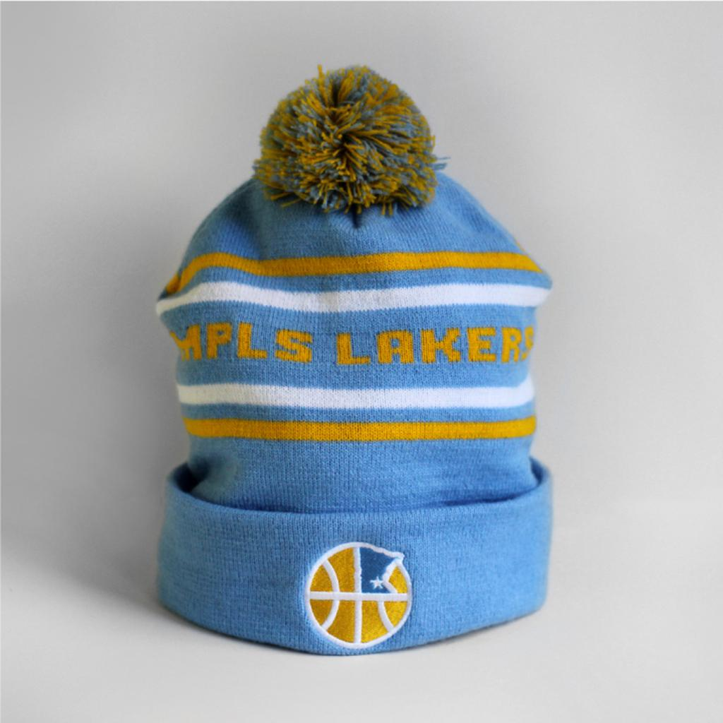 Mpls Lakers stocking cap with in-stitch lettering and embroidered logo