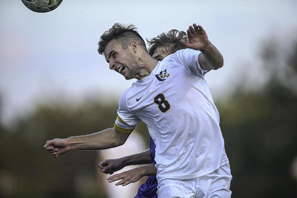 Breck's Lucas LeWin-Mills directs the ball toward a teammate in the second half. Photo by Mark Hvidsten, SportsEngine