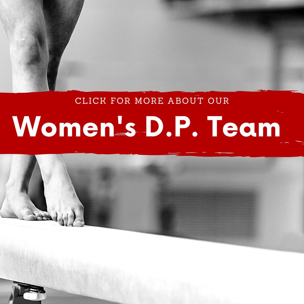 Women's DP Team Link - woman practicing skills on balance beam