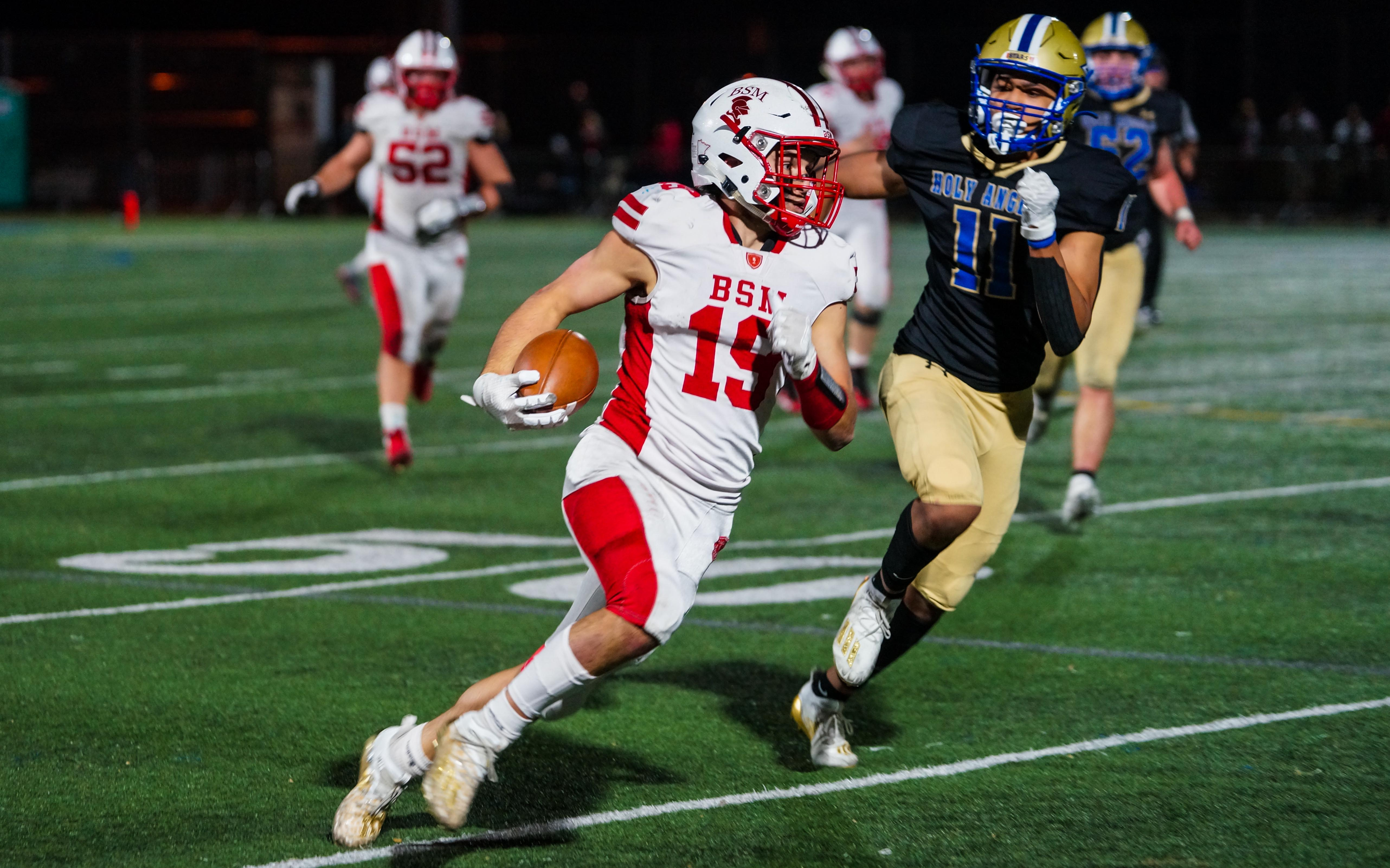 Benilde-St. Margaret's senior Johnny Woodford's two touchdowns were not enough push the Red Knights past Holy Angels on Nov 6. Photo by Korey McDermott, SportsEngine
