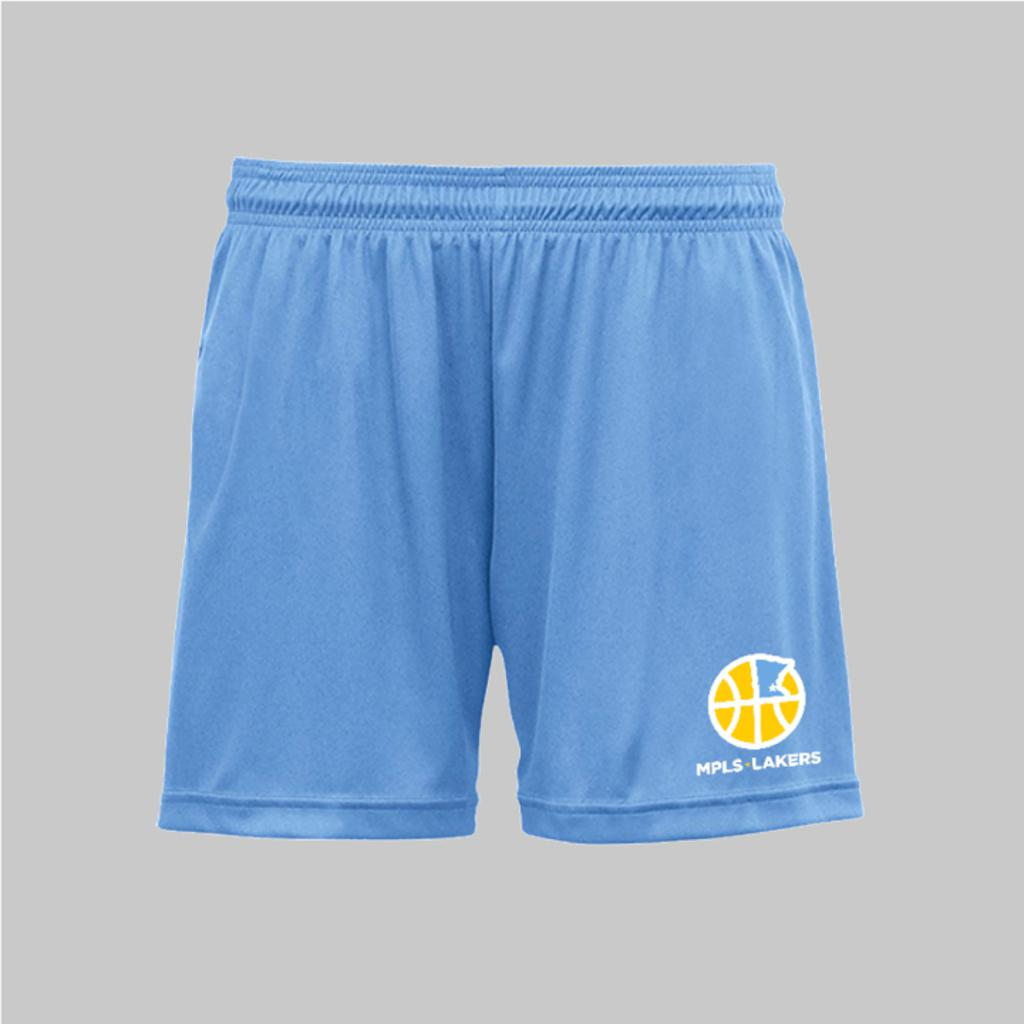 Blue Practice shorts with Mpls Lakers logo printed on front left leg