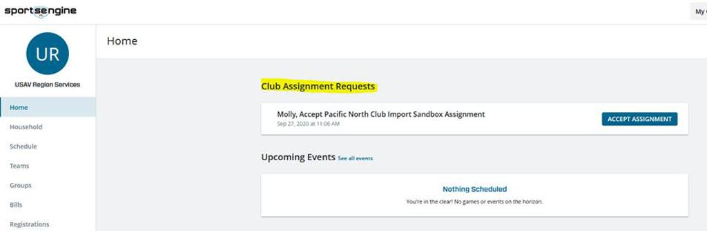 Updated club assignment request link