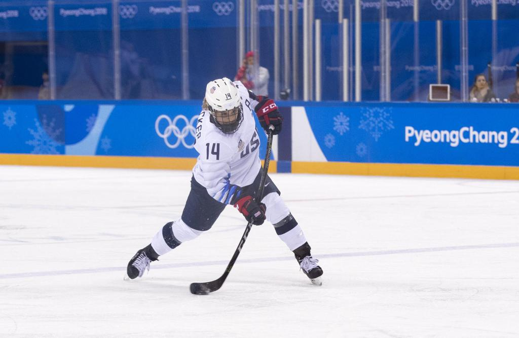 Decker fires a slap shot at the 2018 Olympic Winter Games in PyeongChang