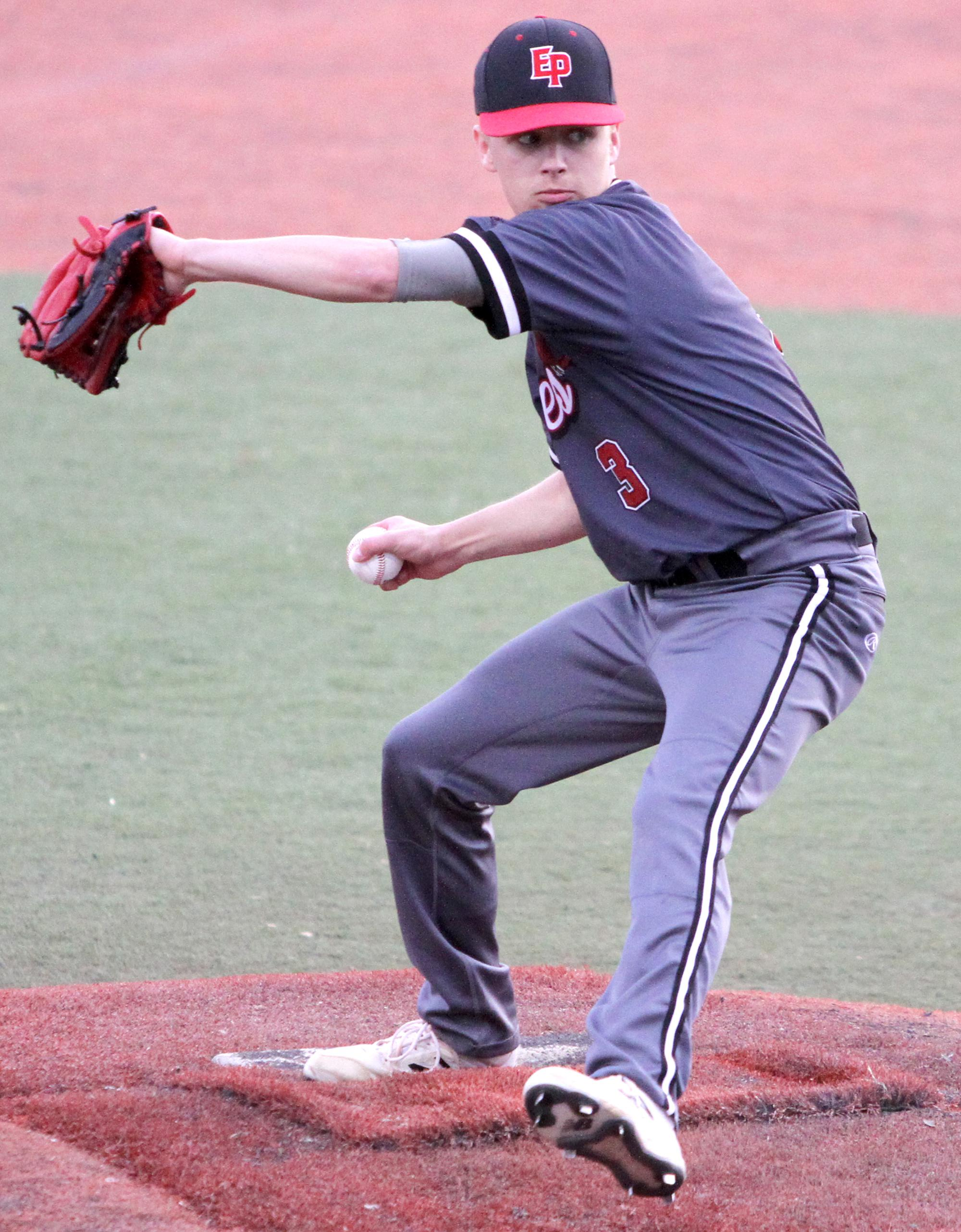Eden Prairie righthander Tyson Stritesky shut out Minnetonka, allowing just two base runners in six-plus innings of work while collecting 11 strikeouts. Photo by Drew Herron, SportsEngine