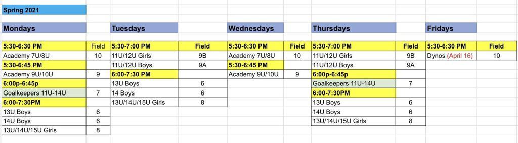 Spring 2021 Training Schedule (Outdoor)
