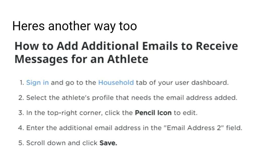 How to update your Athletes email profile to receive notifications for their Team