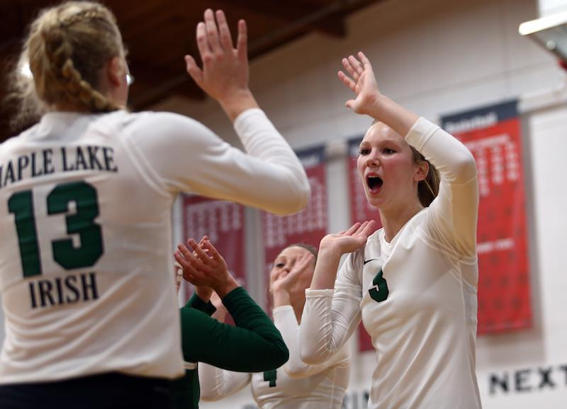 Maple Lake won the last two Class 2A state titles, but the Irish must defend their back-to-back championships with a less experienced team as they face fellow top Class 2A, Section 6 competitor St. Cloud Cathedral. Photo by Cheryl Myers, SportsEngine