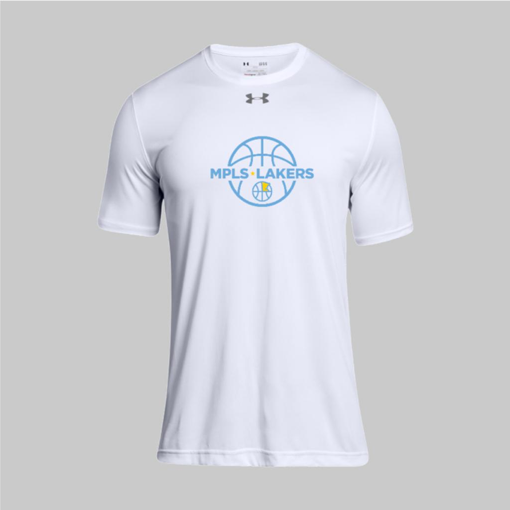 Under Armor White Undershirt with Mpls Lakers practice logo on front