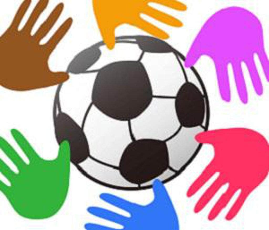 Colourful hands around soccer ball
