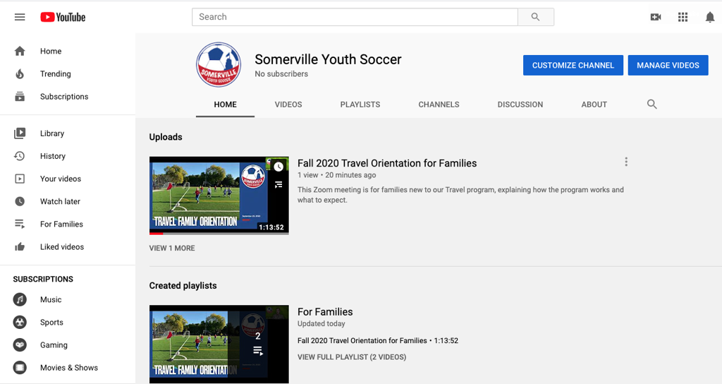 SYS YouTube channel