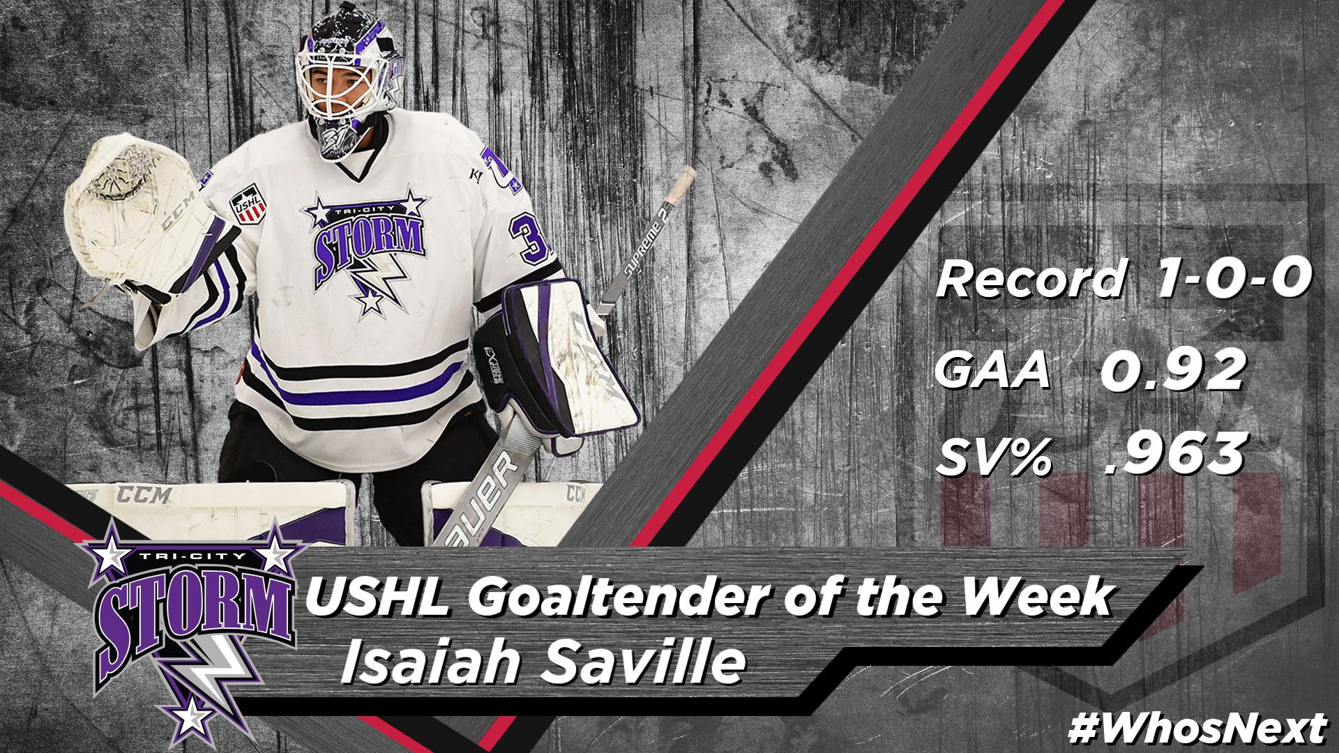 Goaltender: Isaiah Saville - Tri-City Storm