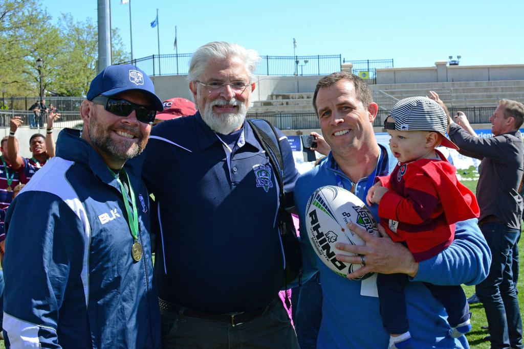 (L to R) Scott Bracken (Coach, Claremont Colleges), Steve Cohen (NSCRO CEO), Dan Payne and son