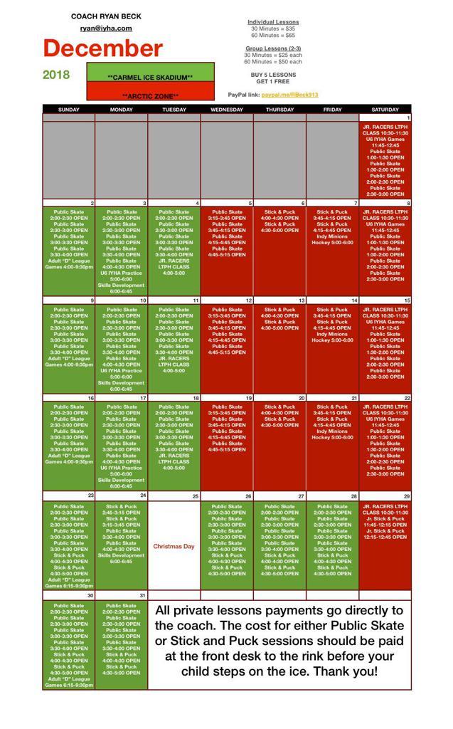 Private Hockey Lesson Calendar - COACH RYAN