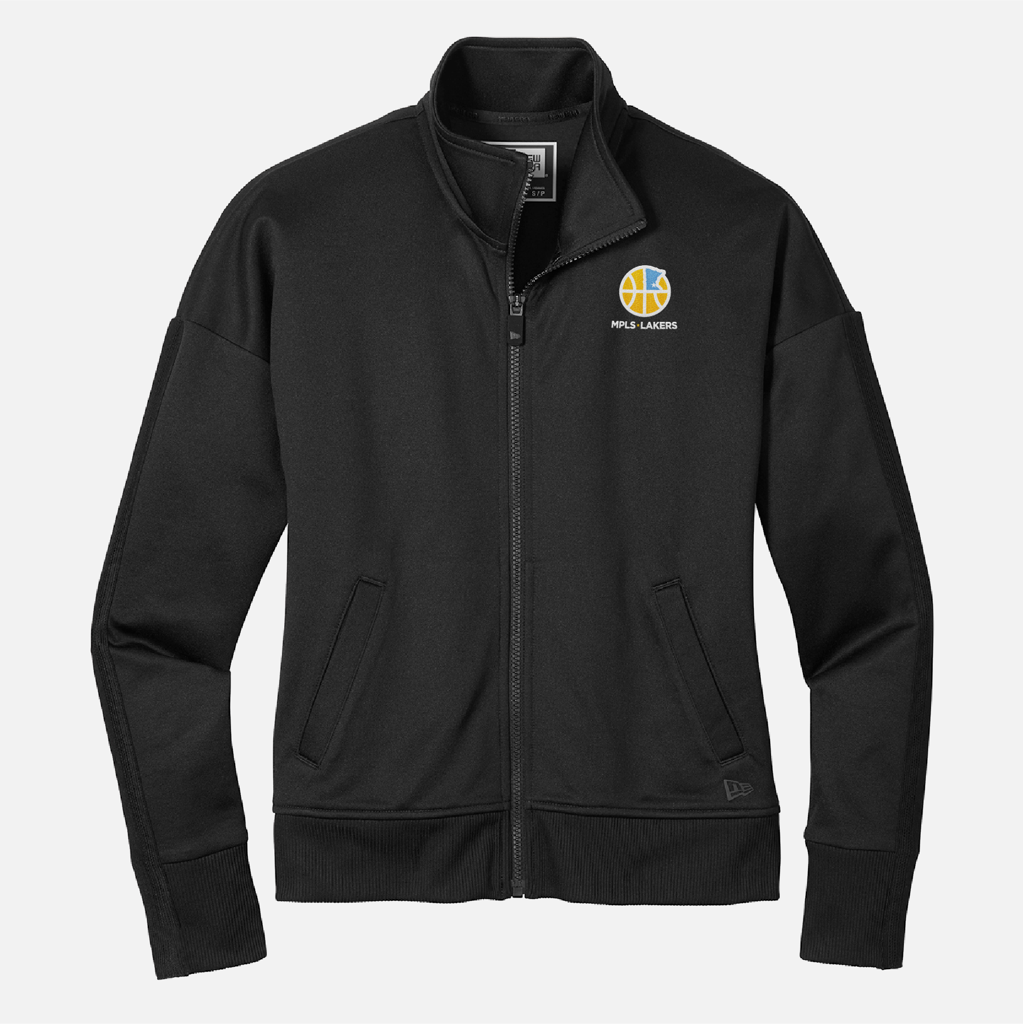 Official Mpls Lakers Youth Traveling Basketball Program Inc apparel and gear in Minneapolis, MN: Women's Black New Era Track Jacket with embroidered logo and text