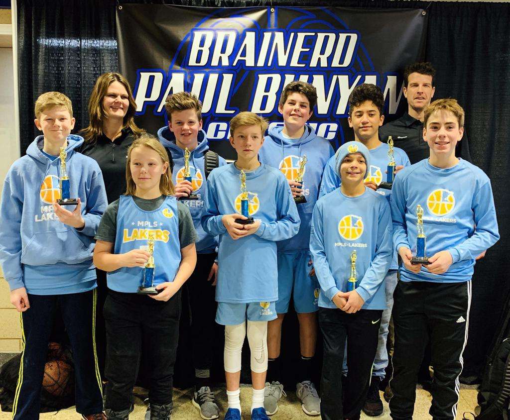 Minneapolis Lakers 7th Grade Gold pose with their hardware after taking 2nd Place at Brainerd Paul Bunyan Classic in Brainerd, MN
