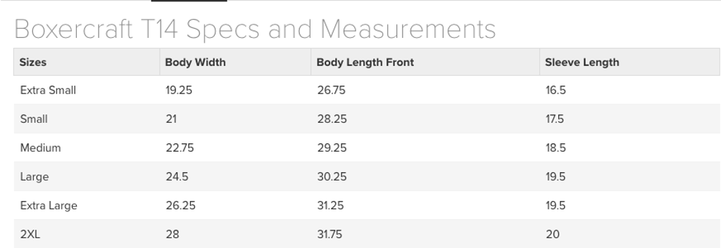 Boxercraft Women's PomPom Size Chart