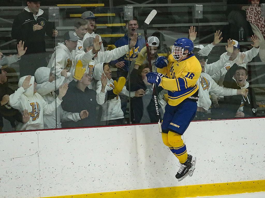 Sophomore forward Jager Kendall (16) celebrates his game-winning goal with JV teammates at the glass. Hastings edges out Eagan 4-3 at Doug Woog Arena on Friday afternoon. Photo by Cheryl Myers, SportsEngine