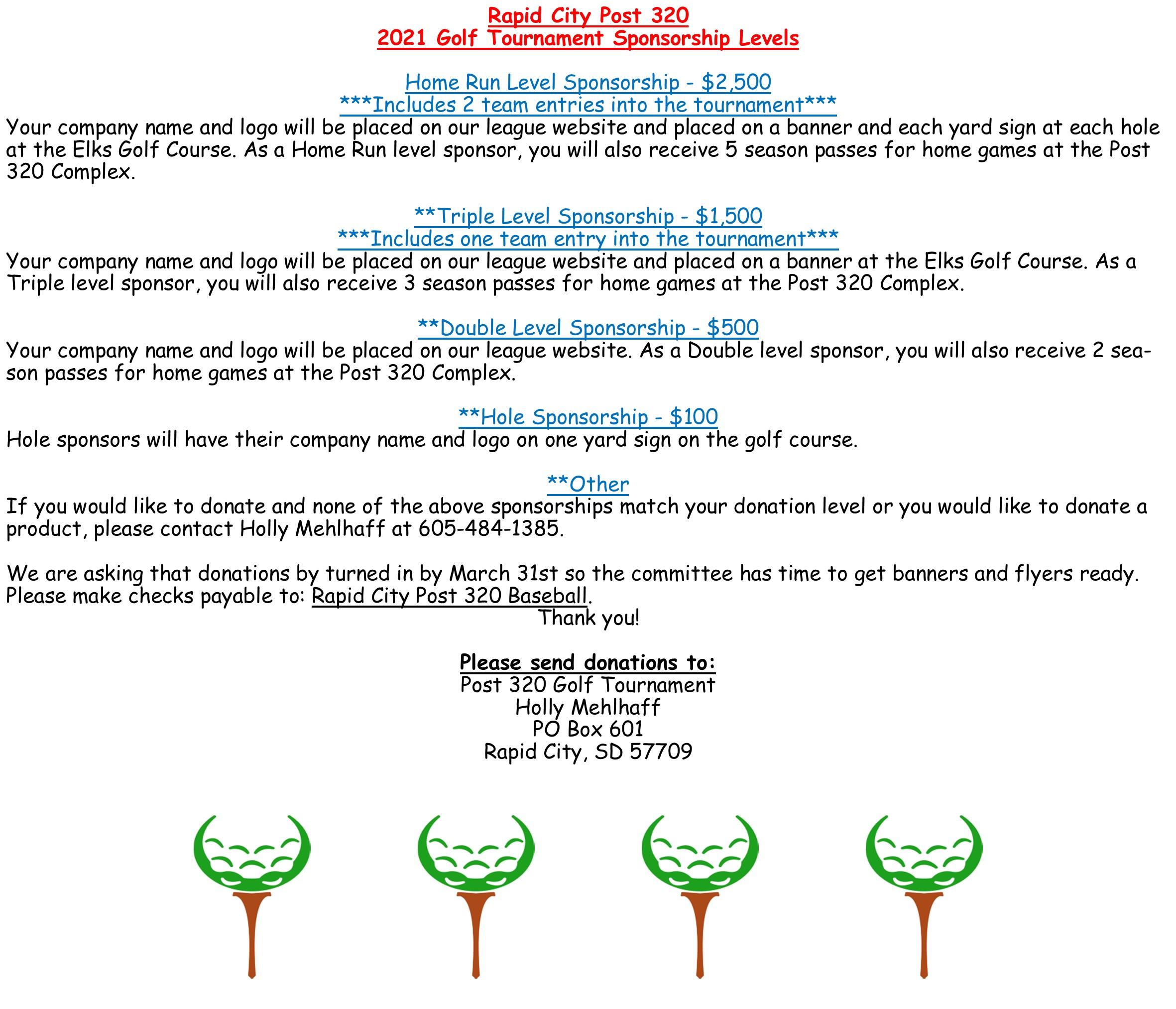 2021 Golf Tournament Sponsorships