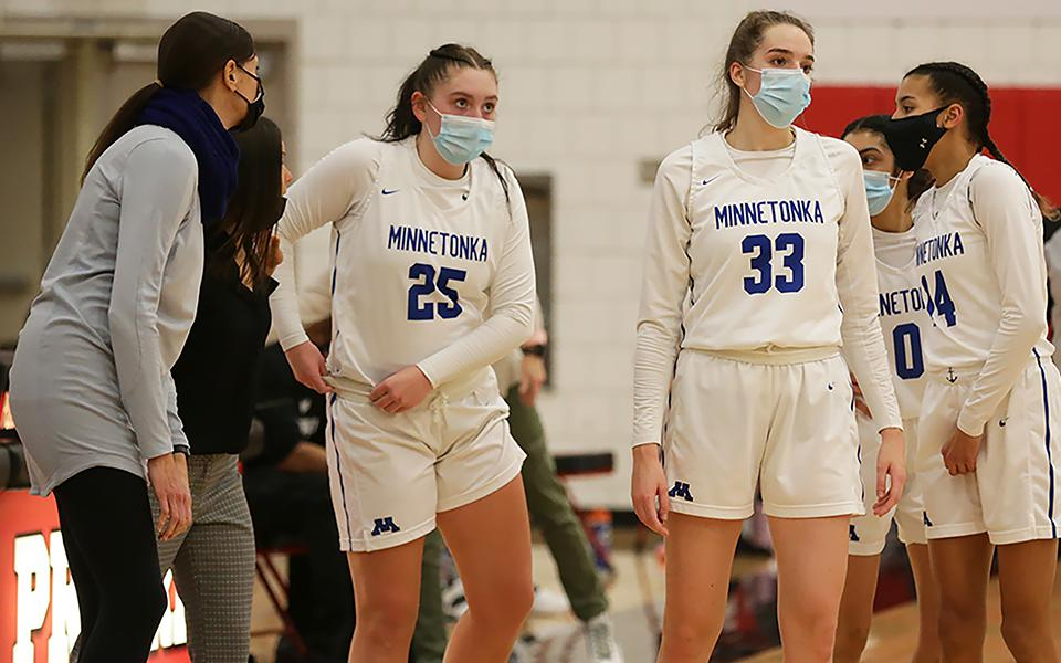 Unbeaten and top-ranked Hopkins defeated Minnetonka by just one point on Jan. 26 at home. The Skippers are hoping to return the favor this Thursday on their own home floor. Photo by Jeff Lawler, Sports Engine
