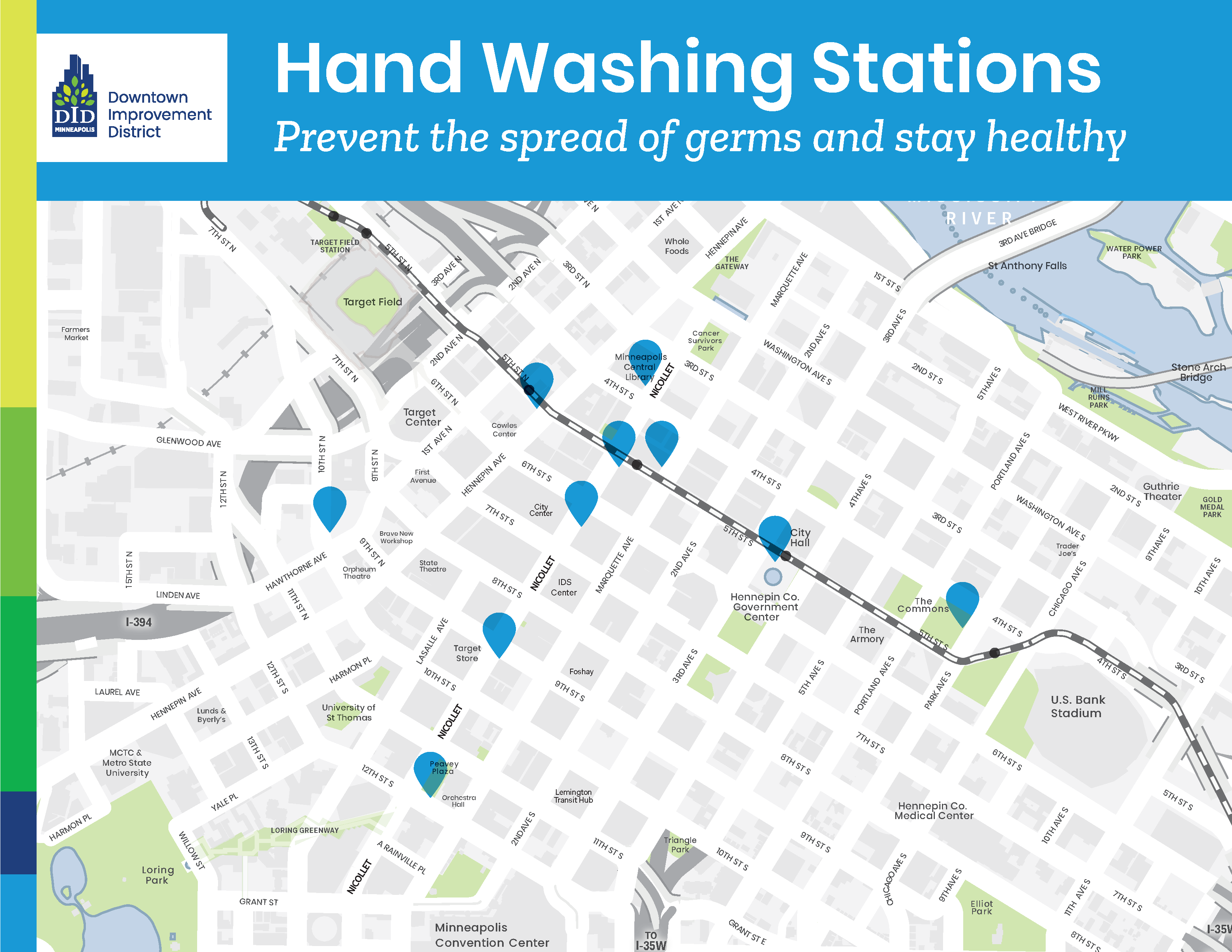 Mpls downtown improvement District Hand washing stations map 2020