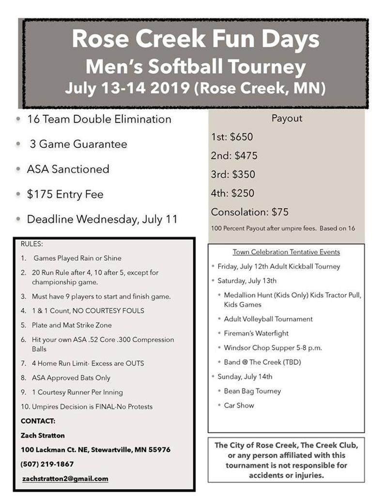 2019 Minnesota Softball Tournament Flyers