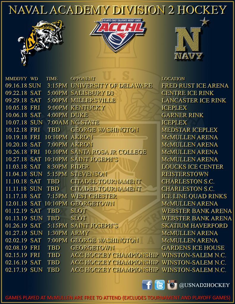 Navy D2 Men's 2018-2019 Schedule Released