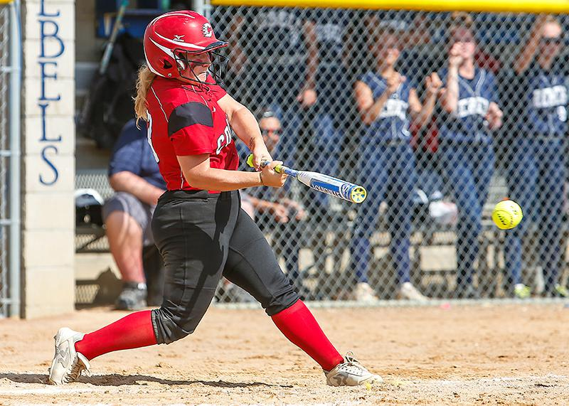 Grace Gilmore doubled in the first game. Gilmore went 5-for-10 with two doubles and a home run and pitched 10-plus innings in the two games. Photo by Mark Hvidsten, SportsEngine