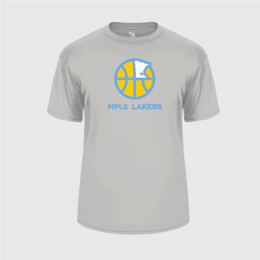 Screen printed basketball design on Grey performance t-shirt
