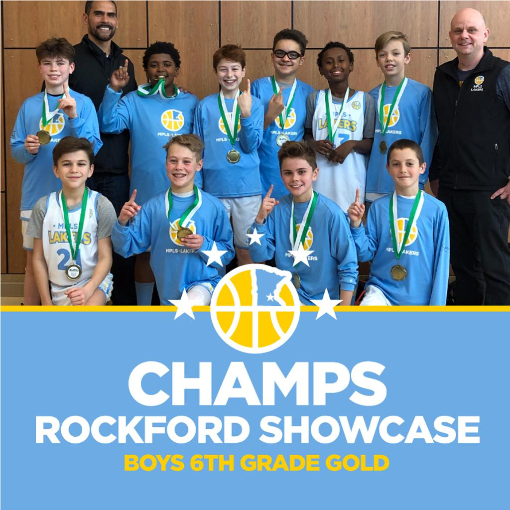 Boys 6th Grade Gold pose with their hardware after taking 1st at Rockford Showcase