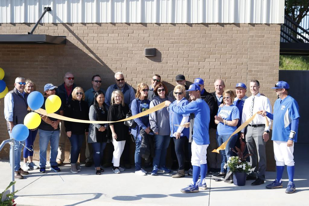 EHS Baseball celebrates the opening of their new concession/bathrooms/press box.