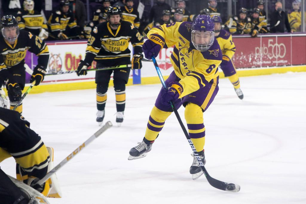 Minnesota State junior forward Sam Morton could have up to eight family members coming to see him play in Loveland this weekend, the first time they've seen play in more than a year. Photo courtesy of Minnesota State Athletics