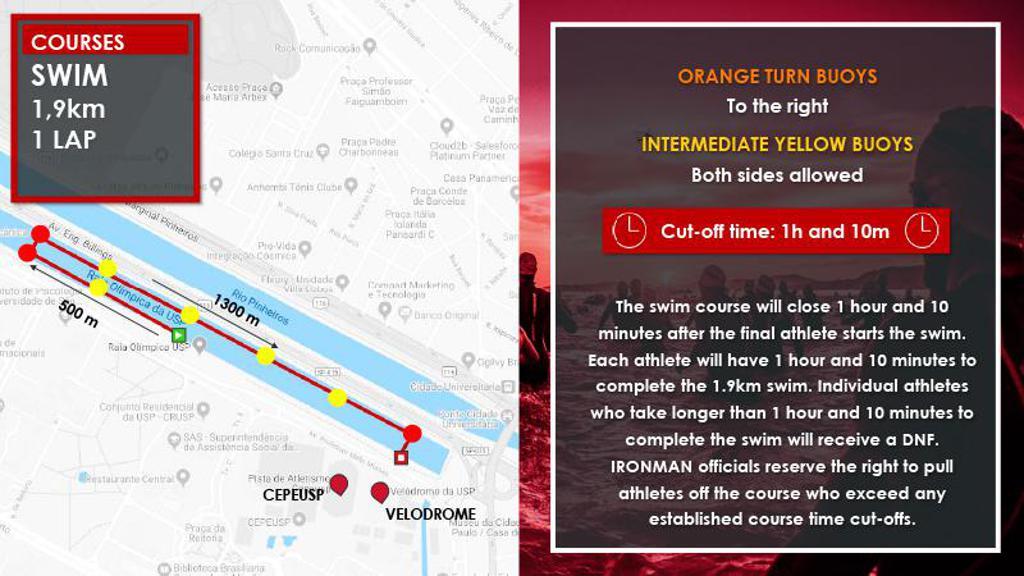 Swim course map temps IM703 Sao Paulo