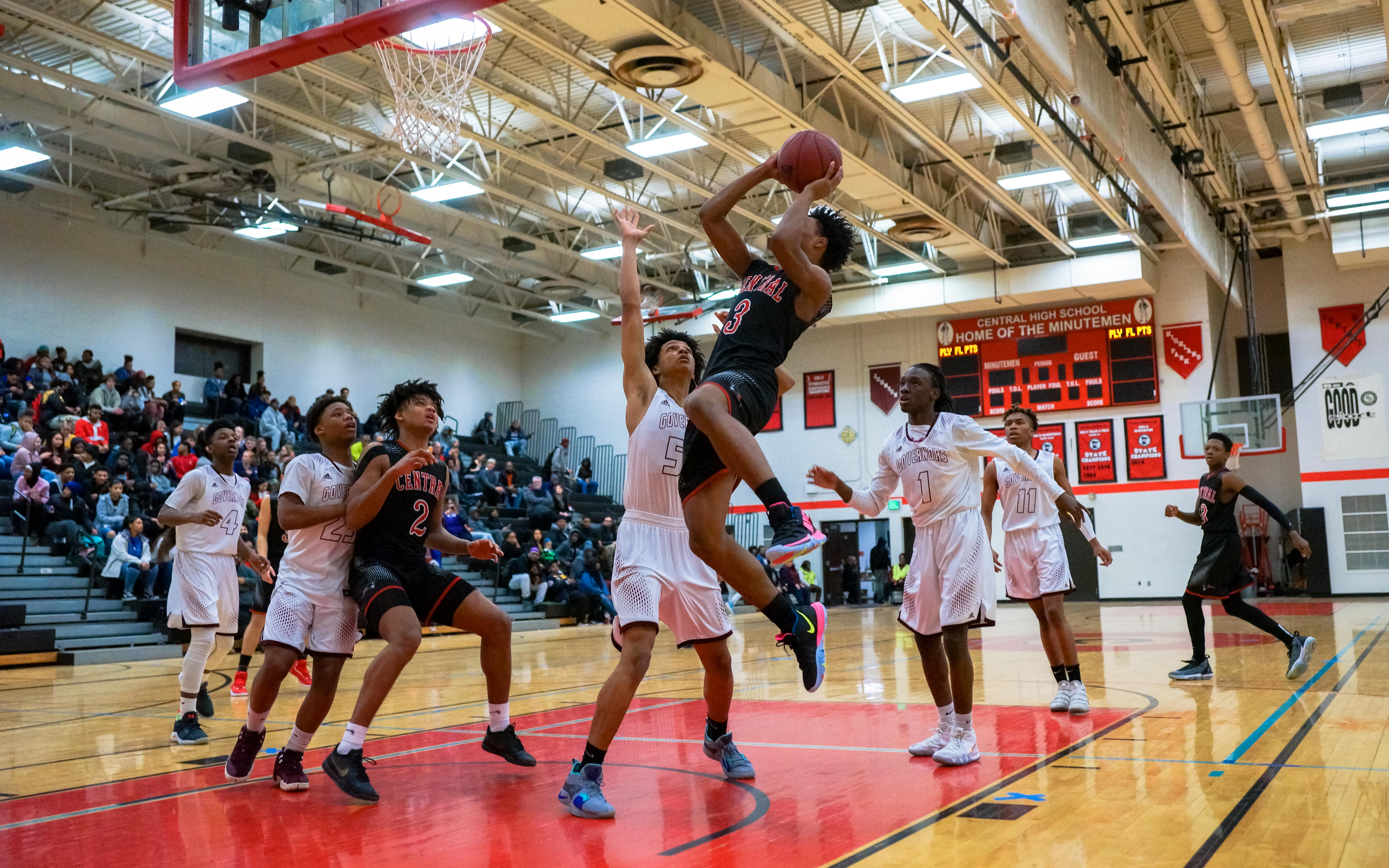 St. Paul Central's Dion Ford with two of his 18 points Tuesday night in a 67-39 victory over visiting St. Paul Johnson. Ford registered his 1,000th career point in the victory. Photo by Korey McDermott, SportsEngine