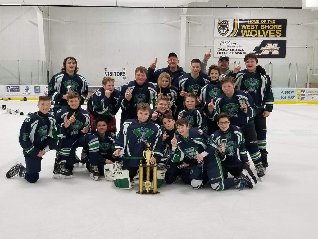 Bantam Destroyers Ludington Deep Freeze Champions 1-21-19.  They beat Port Huron by coming back from a 3-0 deficit to win 4-3 in overtime
