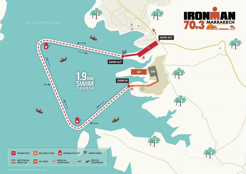 Swim course map IM703 Marrakech 2020