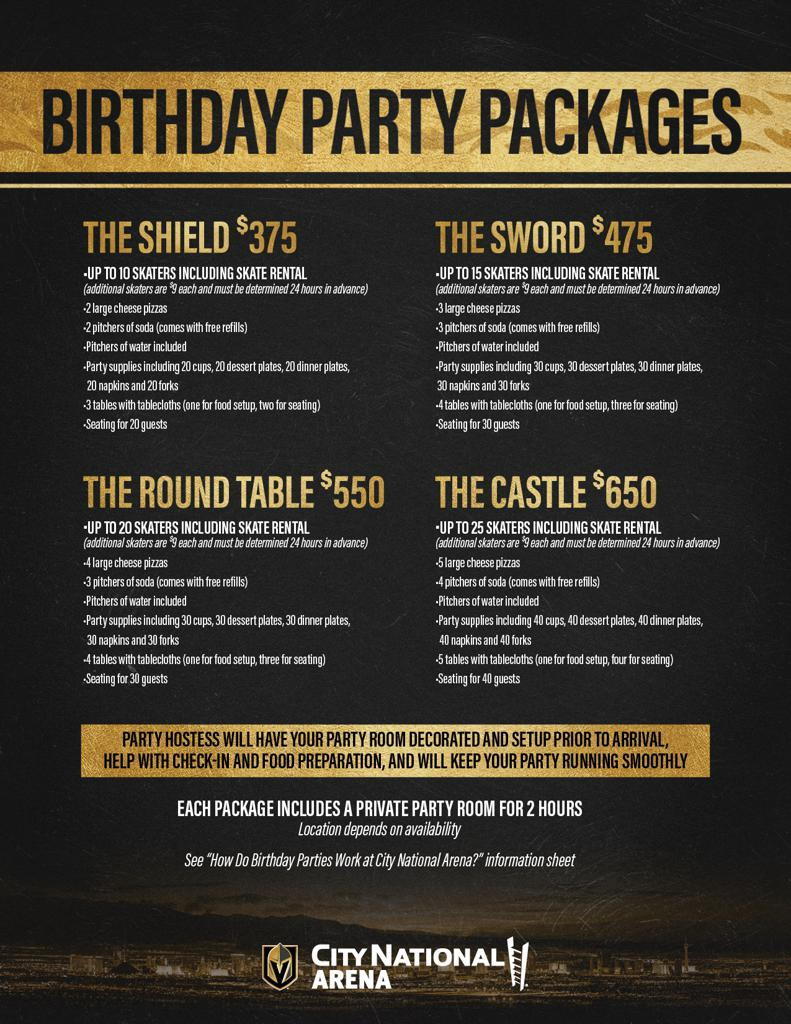 VGK Birthday Party Packages