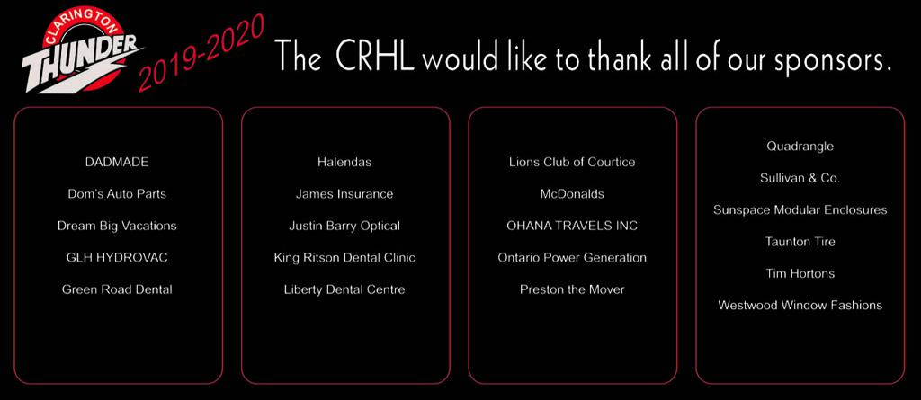 2016-2017 Thank You to CRHL Sponsors