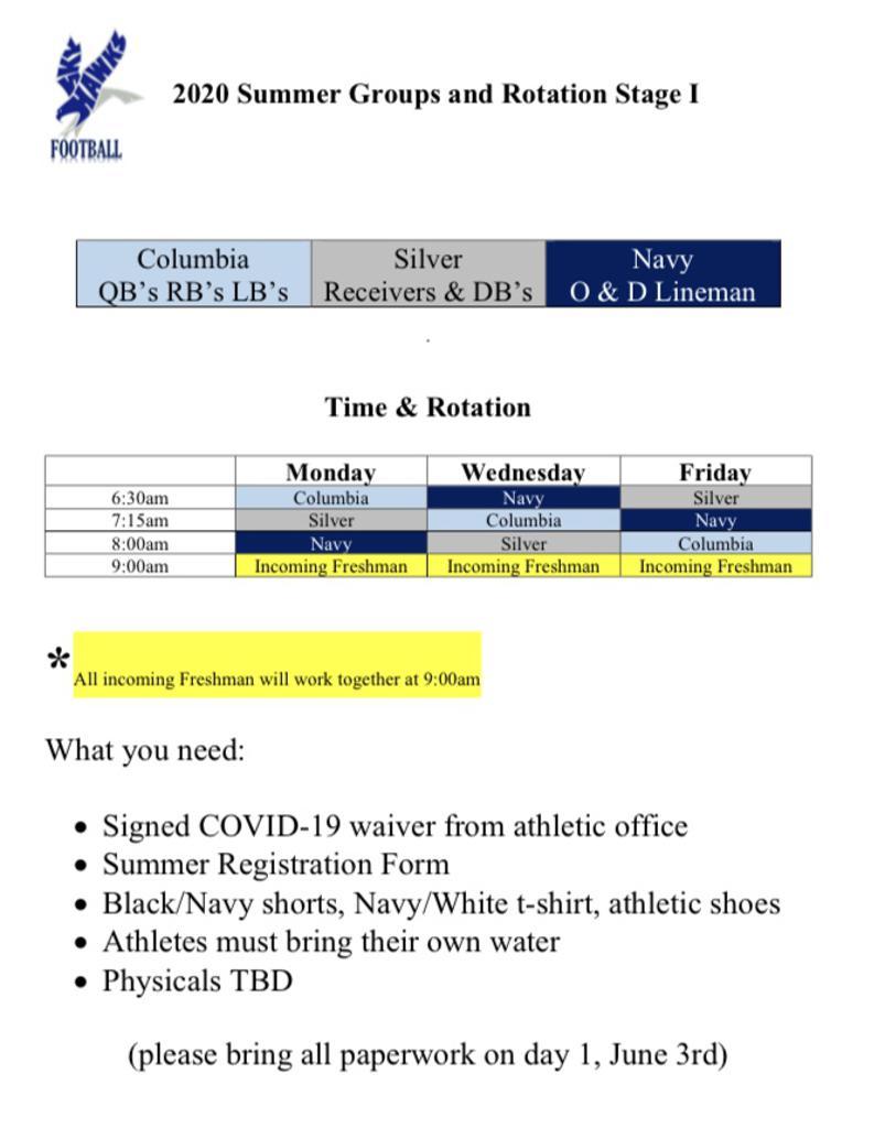 2020 Summer Football Schedule