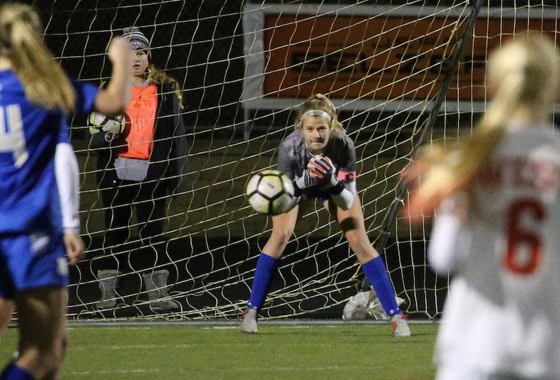Holy Angels senior goalkeeper Greta Forseth only allowed five goals in 15 regular-season games. Forseth was named Class 1A first team all-state for her efforts. Photo by Cheryl Myers, SportsEngine