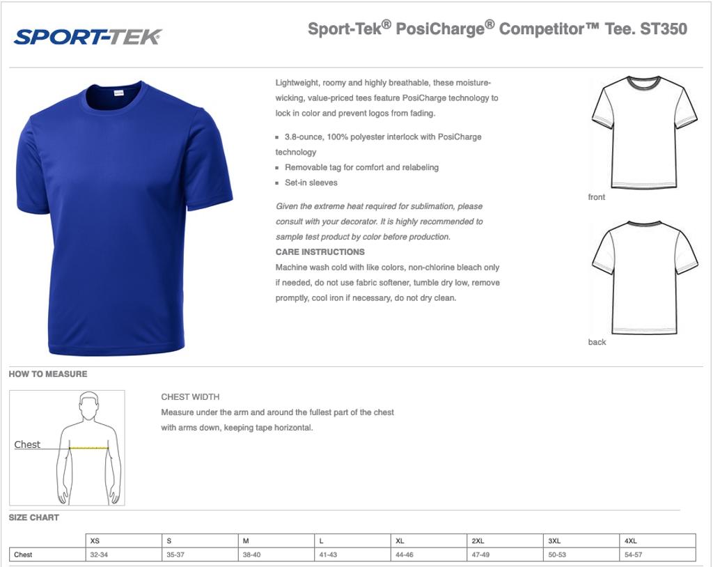 Men's Sport-Tek Competitor T-Shirt Size Chart