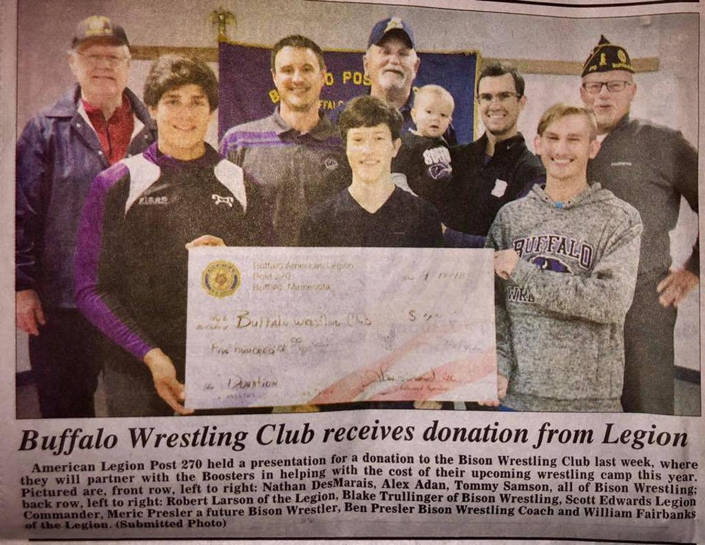 American Legion Post 270 donates to Buffalo Wrestling Club